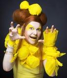 Girl in yellow. Stock Photo