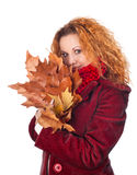 Girl with yellow autumn leaves Royalty Free Stock Photo