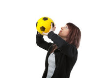 Girl with yellow ball Stock Photo