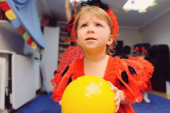 Girl with Yellow Balloon Royalty Free Stock Photography