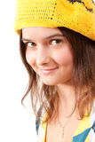 Girl in a yellow beret Stock Photos