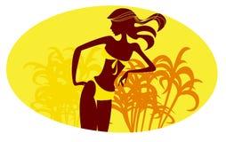 Girl in a yellow bikini Royalty Free Stock Image