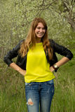 Girl in yellow blouse Stock Photography