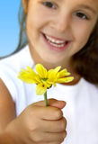 GIRL WITH YELLOW DAISY. Little girl offering an yellow daisy (focus is on the flower Stock Photography