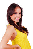 Girl in yellow dress. Lovely girl in yellow dress over white Royalty Free Stock Photos