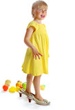 The girl in a yellow dress Royalty Free Stock Photos