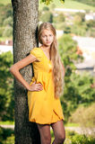 Girl in yellow dress against rural landscape background Stock Images