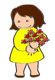 Girl in a yellow dress with a bunch of red flowers. On a picture you can see a happy young girl with brown hair in a yellow dress with a bunch of red flowers Stock Photos
