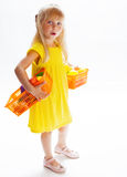 Girl in a yellow dress Stock Photo