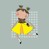Girl in yellow dress runs on the background colors. Royalty Free Stock Image