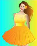 Girl in Yellow Dress. A smiling girl in a yellow dress Stock Images