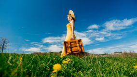 Girl in yellow dress and suitcase on mountain meadow with dandelions stock photos
