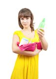 Girl in yellow dress with  toilletries Stock Photography