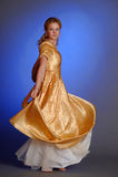 Girl in yellow evening long dress Stock Photo