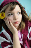 Girl with yellow flower portrait. White girl feeling spring, yellow flower in hair Stock Photography