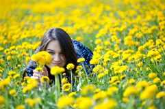 Girl in yellow flowers Stock Photo