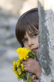 Girl with yellow flowers Royalty Free Stock Photo
