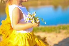 Skirt yellow lush little girl bouquet camomiles river stock photo