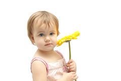 The girl with yellow gerbera Stock Image