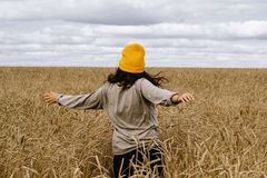 Girl in a yellow hat and grey sweater runs across the field. A young girl in a yellow hat and grey sweater runs across the field of wheat and stroking  ears Royalty Free Stock Photography