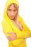 Girl in yellow hood Royalty Free Stock Photo
