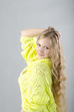 Girl in the yellow jersey. Beautiful girl in the yellow jersey Royalty Free Stock Photography