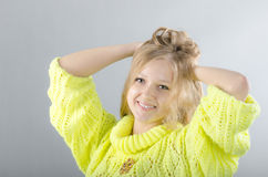 Girl in the yellow jersey. Beautiful girl in the yellow jersey Royalty Free Stock Images