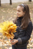 Girl and yellow leaves. At autumn Royalty Free Stock Photography