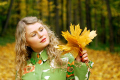 Girl and yellow leaves Royalty Free Stock Photography