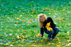 Girl with yellow leaves. Teenage girl with long blond hair sitting in a meadow with green grass and collect the yellow autumn leaves Stock Images