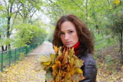 Girl and yellow leaves. The girl with dry leaves from trees Royalty Free Stock Image