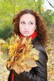 Girl and yellow leaves. The girl with dry leaves from trees royalty free stock photos
