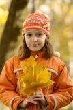 Girl with yellow maple leaves Stock Photo