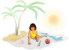 A girl in yellow plays on the beach. At water Stock Image