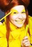 Girl in yellow. Stock Photography