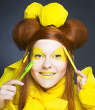 Girl in yellow. Royalty Free Stock Photography
