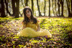 Girl in yellow princess dress Royalty Free Stock Photography