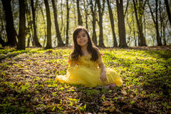 Girl in yellow princess dress Royalty Free Stock Photo