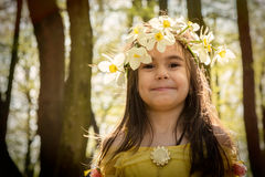 Girl in yellow princess dress Stock Photography