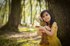 Girl in yellow princess dress Royalty Free Stock Image