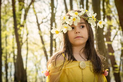 Girl in yellow princess dress Stock Photography