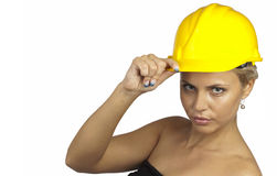 The girl with yellow protective cap Stock Photo
