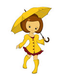Girl in a yellow raincoat with umbrella. Girl in a yellow raincoat, yellow boots with yellow umbrella Stock Photos