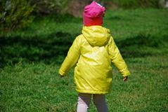 A girl in a yellow raincoat walking in the forest. A girl in a yellow raincoat and pink hat walking in the forest stock image