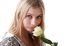 Girl with yellow rose Royalty Free Stock Photos