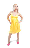Girl in yellow sexy dress Royalty Free Stock Photos
