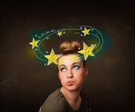 Girl with yellow stars circleing around her head illustration Stock Photography