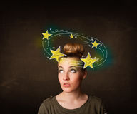 Girl with yellow stars circleing around her head illustration Stock Image