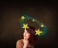 Girl with yellow stars circleing around her head illustration Royalty Free Stock Photos