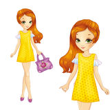 Girl In Yellow Summer Dress Royalty Free Stock Images